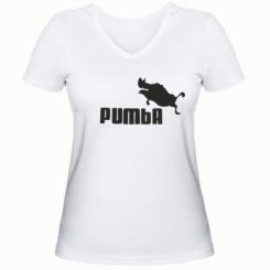 Женская футболка с V-образным вырезом Pumba