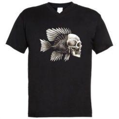 Чоловіча футболка з V-подібним вирізом Риба-череп