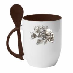 Кружка з керамічною ложкою Риба-череп