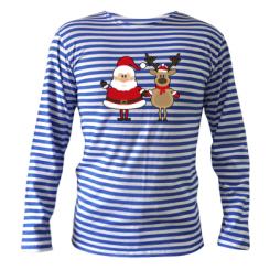 Тельняшка с длинным рукавом Santa Claus and reindeer