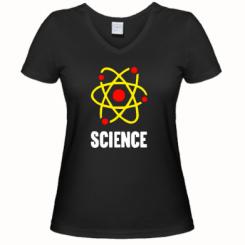 Женская футболка с V-образным вырезом SCIENCE