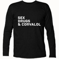 Футболка з довгим рукавом Sex, Drugs & Corvalol