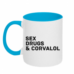 Кружка двокольорова Sex, Drugs & Corvalol