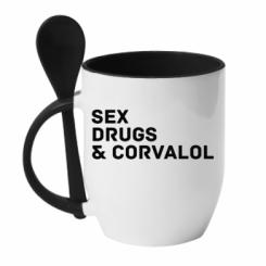 Кружка з керамічною ложкою Sex, Drugs & Corvalol
