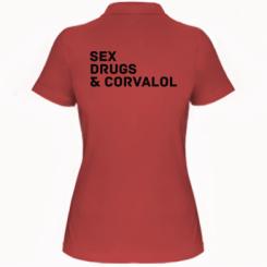 Жіноча футболка поло Sex, Drugs & Corvalol