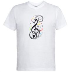 Купити Чоловічі футболки з V-подібним вирізом Скрипковий ключ