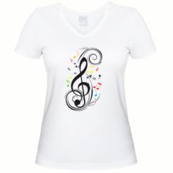 Купити Жіноча футболка з V-подібним вирізом Скрипковий ключ