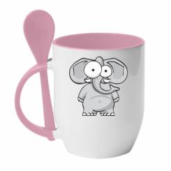 Кружка з керамічною ложкою Слон окатий
