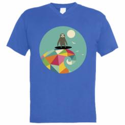 Чоловіча футболка з V-подібним вирізом Sloth on a wave