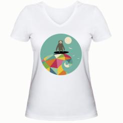 Жіноча футболка з V-подібним вирізом Sloth on a wave