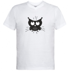 Мужская футболка  с V-образным вырезом Смешная сова