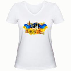 Жіноча футболка з V-подібним вирізом Сонячна Україна