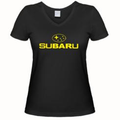 Купити Жіноча футболка з V-подібним вирізом Subaru