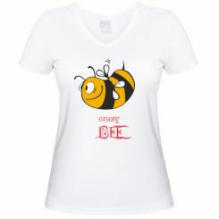 Купити Жіноча футболка з V-подібним вирізом Шалена бджілка