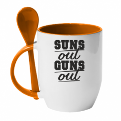 Кружка з керамічною ложкою Suns out guns out
