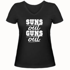 Жіноча футболка з V-подібним вирізом Suns out guns out