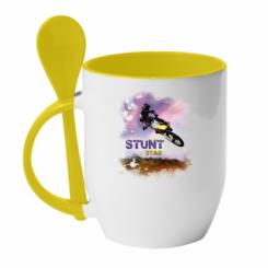 Кружка з керамічною ложкою Suzuki Art Stunt Star