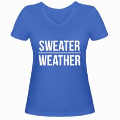 Жіноча футболка з V-подібним вирізом Sweater | Weather
