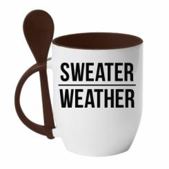 Кружка з керамічною ложкою Sweater | Weather