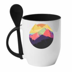 Кружка з керамічною ложкою The mountains Art