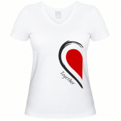 Женская футболка с V-образным вырезом Together