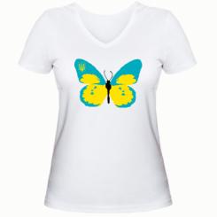 Женская футболка с V-образным вырезом Український метелик