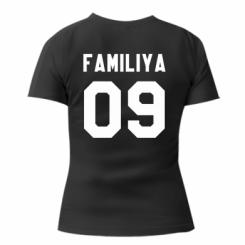 Женская футболка с V-образным вырезом Ваша фамилия и номер