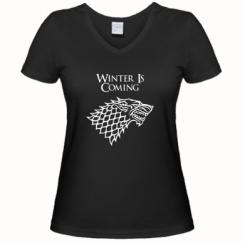 Женская футболка с V-образным вырезом Winter is coming (Игра престолов)