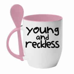 Кружка з керамічною ложкою Young and Reckless