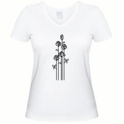 Жіноча футболка з V-подібним вирізом 3 троянди