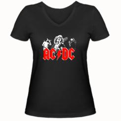 Купити Жіноча футболка з V-подібним вирізом AC DC