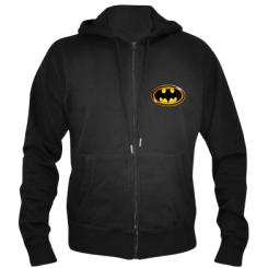 Чоловіча толстовка на блискавці Batman logo Gold