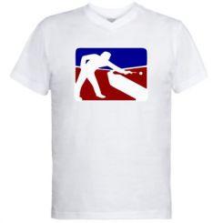 Чоловічі футболки з V-подібним вирізом Бильярд