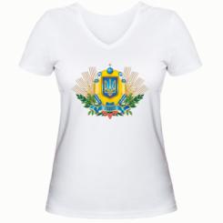 Жіноча футболка з V-подібним вирізом Бог береже Україну