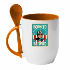 Кружка з керамічною ложкою Born to be Wild