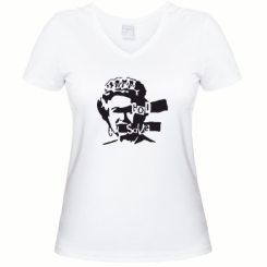 Жіноча футболка з V-подібним вирізом Боже, бережи королеву!