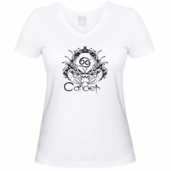 Купити Жіноча футболка з V-подібним вирізом Cancer (Рак)