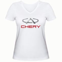 Купити Жіноча футболка з V-подібним вирізом Chery Logo