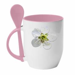 Кружка з керамічною ложкою Квіточка