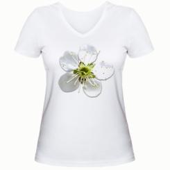 Жіноча футболка з V-подібним вирізом Квіточка