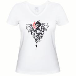 Купити Жіноча футболка з V-подібним вирізом Дракон