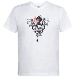 Купити Чоловічі футболки з V-подібним вирізом Дракон