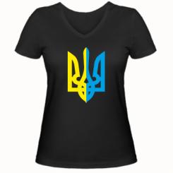 Купити Жіноча футболка з V-подібним вирізом Двокольоровий герб України