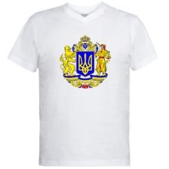 Купити Чоловічі футболки з V-подібним вирізом Герб України повнокольоровий
