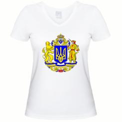 Купити Жіноча футболка з V-подібним вирізом Герб України повнокольоровий
