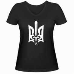 Купити Жіноча футболка з V-подібним вирізом Герб з мечем