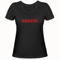 Жіноча футболка з V-подібним вирізом Група крові (4) АВ-