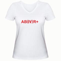 Жіноча футболка з V-подібним вирізом Група крові (4) АВ +