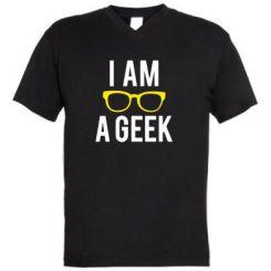 Чоловіча футболка з V-подібним вирізом I am a Geek