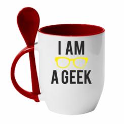 Кружка з керамічною ложкою I am a Geek